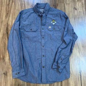 Carhartt Mens Oxford Shirt Blue Cuffed Long Sleeve